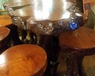 Redwood Bar & 6 Stools; Bar is ~62x36x40 high; Stools 16 round by 31 High Reduced to $5,000