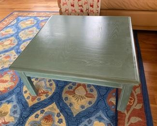 """REDUCED!  $20.00 now, was $80.00....Large Painted Blue Square Coffee Table.  36"""" x 36"""", 16"""" tall."""