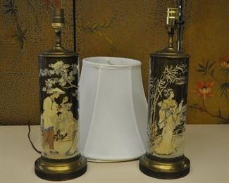 Pr glass Japanese lamps, w shades. Working. $85.00