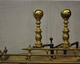 Brass canon ball end irons, and surround $65.00
