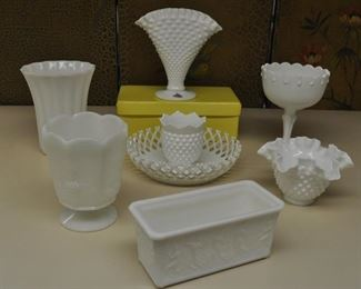 Milk glass group $45.00 for 8 pc.