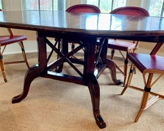 1. Lort's Round Plank Top Table w/ Birdcage Base &  2 - 18'' leaves (54''),  $ 650.00