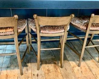 4. 5 Counterheight Rush Seat Bar Stools (21'' x 18'' x 29'', Seat Height 23''),  $ 600.00