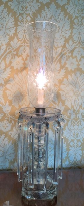 10. Pair of Crystal Candle Lamps (25''), $ 300.00