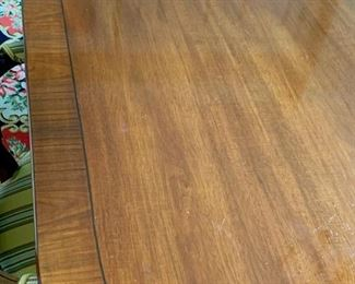 5. Federal Style Triple Pedestal Banded Mahogany Table w/ Pad & 2- 24'' leaves (72'' x 54'') (opens to 19'), $ 3,200.00
