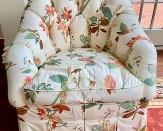 56. O. Henry House Floral Upholstered Tufted Barrel Chair w/ Down Cushion (32'' x 35'' x 34''),  $ 650.00