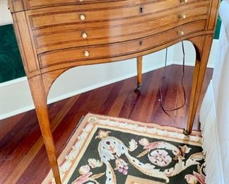 60. 1 Drawer Inlayed Antique Writing Table on Casters w/ 7 Interior Compartments (26'' x 21'' x 29''),   $ 3,200.00