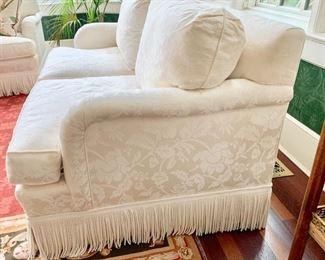 57. Upholstered 2 Cushion Loveseat w/ Bouillon Fringe (37'' x 37'' x 34''),  $ 1,200.00