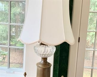 55. Pair of Brass & Glass Antique Lamps (33''),  $ 300.00