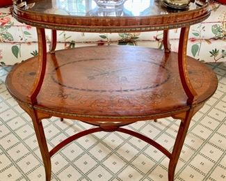 44. Antique 2 Tier Tray Top Inlayed Accent Table w/ Brass Detail (35'' x 22'' x 33''),  $ 1,600.00