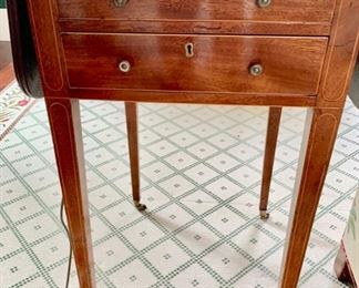 47. Antique 2 Drawer Drop Leaf (8'') Accent Table on Casters (16'' x 18'' x 30''),   $ 900.00