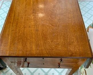 147. Antique 2 Drawer Drop Leaf (8'') Accent Table on Casters (16'' x 18'' x 30''),  $ 900.00