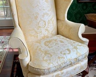 49. Southwood Connoisseur Upholstered Wingback Chair w/ Ball & Claw Feet (37'' x 26'' x 47''),  $ 750.00
