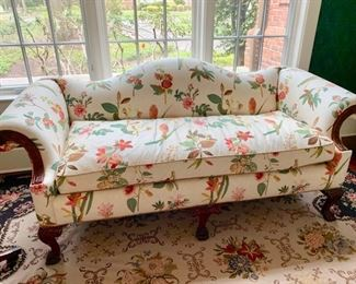 52. Camelback 1 Cushion Floral Upholstered Sofa w/ Carved Wood Detail (78'' s 35'' x 36''),  $ 1,050.00