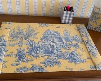 187. Yellow & Blue Toile Desk Set,  $ 75.00