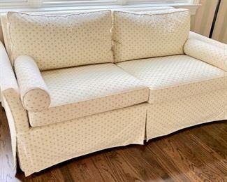 79. 2 Cushion Upholstered Sleeper Sofa (72'' x 36'' x 33''),  $ 600.00