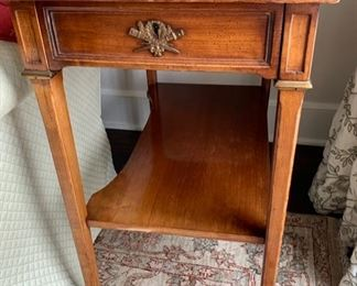 89. 1 Shelf 1 Drawer Antique Leather Top End Table (17'' x 27'' x 28''),  $ 450.00