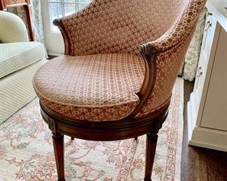 87. Upholstered Barrel Swivel Desk Chair on Carved Wood Base (23'' x 28'' x 34''),  $ 490.00