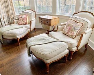 82. Pair of Down Stuffed Bergere Chairs (32'' x 28'' x 35'') w/ Ottomans (33'' x 23'' x 16''),   $ 2,400.00