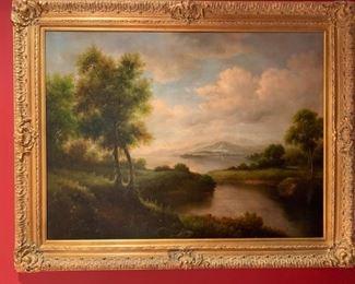 141. Gilt Framed Painting of River Landscape,  $ 600.00