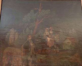 131. Antique Mirror (33'' x 63'') w/ Oil Painting (26'' x 21''),  $ 950.00