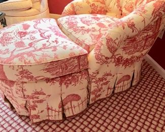 130. O. Henry House Tufted Back Toile Upholstered Barrel Chair (34'' x 36'' x 33'') w/ Semi-Circle Ottoman (30'' x 23'' x 19'') ,  $ 750.00