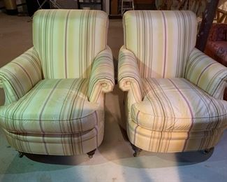 159. Pair of Lewis Mittman Roll Back Silk Upholstered Chairs on Casters (35'' x 34'' x 37''),  $ 900.00