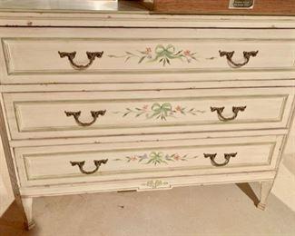 146. Cream & Green Handpainted 3 Drawer Dresser (45'' x 18'' x 34''),  $ 400.00
