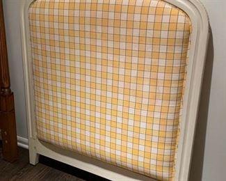 169. Carved Wood Framed Upholstered Twin Headboard,  $ 125.00