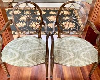 141. Pair of Shield Back Upholstered Armchairs (25'' x 19'' x 38''),  $ 400.00