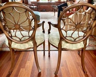 141. Pair of Smith and Watson Wheel Back Upholstered Armchairs (25'' x 19'' x 38''),  $ 400.00