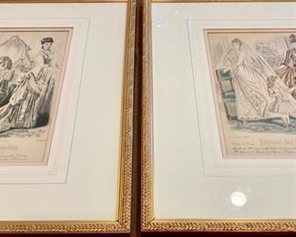 "184. Set of 4 Vintage French Fashion Colored Prints (15"" x 17"") $ 480.00"