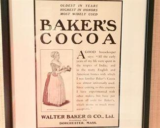 "22. Vintage ""Baker's Cocoa"" Print,  $ 60.00"
