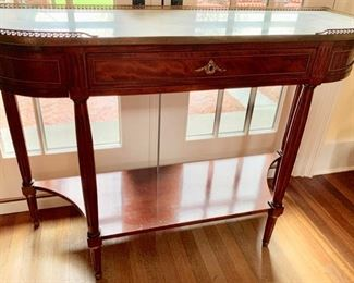 143. 1 Drawer Antique Marble Top Sideboard w/ Brass Gallery (49'' x 16'' x 36''),  $ 1,500.00