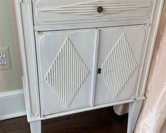 80. White Carved1 Drawer /2 Door Nightstand (21'' x 13'' x 32''),  $ 90.00