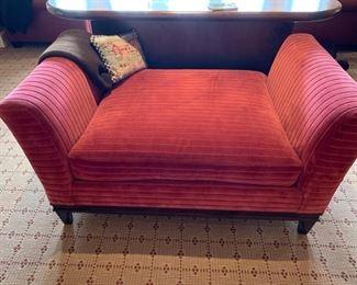 97. Double Deep Upholstered Settee (58'' x 35'' x 30''),  $ 480.00