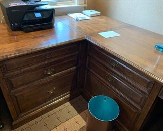 100. 3 Shearling Collection 4 Drawer Desks w/ Corner Connector Piece (66'' x 30'' x 31''),  $ 450.00 ea.