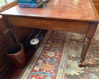 40. Antique Leather Top 6 Drawer Partners Desk w/ Turned Legs (60'' x 45'' x 26''),  $ 2,800.00