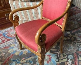 36. Upholstered Accent Chair w/ Carved Wood Detail (23'' x 19'' x 34''),   $ 525.00