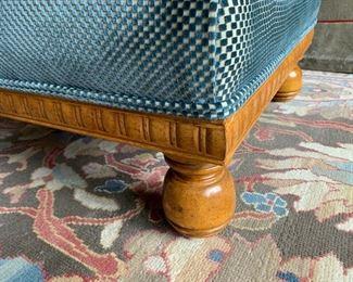 35. Upholstered Ottoman on Hardwood Base (38'' x 27'' x 17''),  $ 350.00