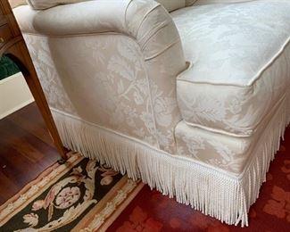 58. Upholstered Cream 3 Cushion Sofa w/ Bouillon Fringe (83'' x 37'' x 34''), $ 1800.00