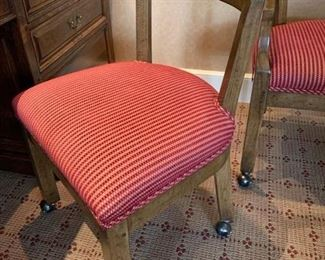 96. 4 Upholstered Desk Chairs w/ Wood Base on Casters (21'' x 19'' x 34''),  $ 600.00