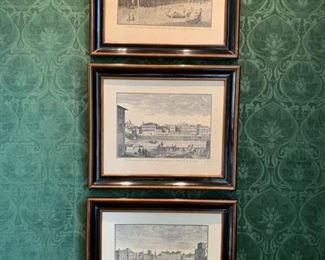 53. Set of 3 Maitland Smith Italian Araneo River Scenery Etchings (25'' x 21''),  $ 580.00