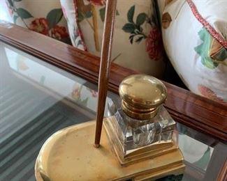 210.  Antique Brass Inkwell & Pen, $50.00