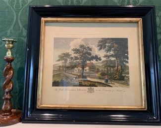 """32. Antique Colored Print of Pastoral Scene """"The Park House in the County of Kent"""",  $ 375.00"""