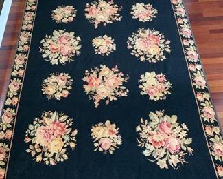 157. Stark Black & Rose Needlepoint Rug (106'' x 69'') $ 1,500.00