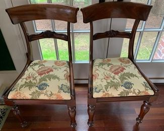 136. Pair of Antique Upholstered Side Chairs (20'' x 19'' x 34''),  $ 250.00