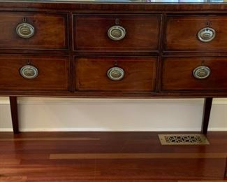 13. 5 Drawer Mahogany Sideboard w/ Glass Protective Cover (51'' x 22'' x 36'') $ 1,500.00