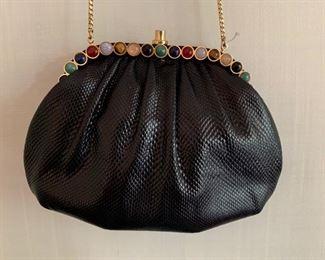 Judith Leiber Black Textured Bag w/ Semi-Precious Stones (very good condition) (8.5'' x 6'') $160