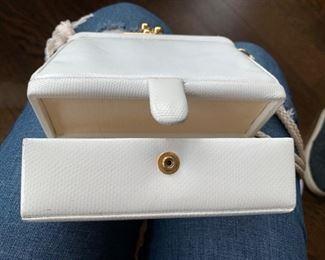 Judith Leiber White Structural Bag (worn condition) (6'' x 6'') $110